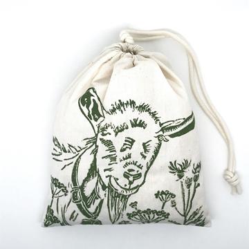 Bild von Baumwollbeutel mit Arvenflocken aus Bergün, Berggeiss Grün
