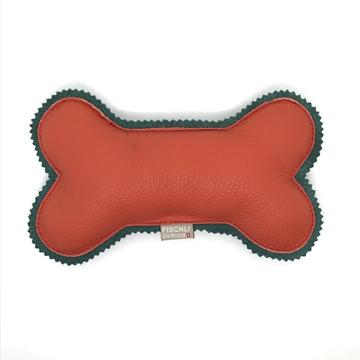 Bild von Grosser Beissknochen mit Quietscher  -  das Hundespielzeug, Orange/ Waldgrün