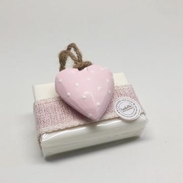 Bild von Seifenblock 100g Nr. 1, Holzherz rosa, Tupfen