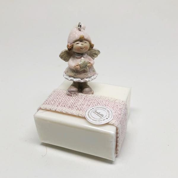 Bild von Seifenblock 100g Nr. 6, Engel rosa stehend