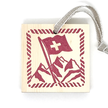 Bild von Arvenholzanhänger bedruckt mit Sujet von Désirée Fischli, Schweizerfahne Rot