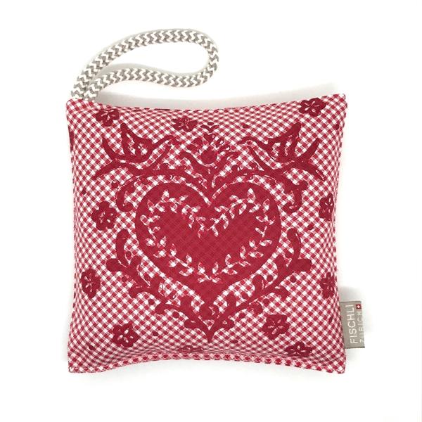Bild von Arvenkissen Baumwolle Karo Rot/Weiss, Herz mit Turteltauben