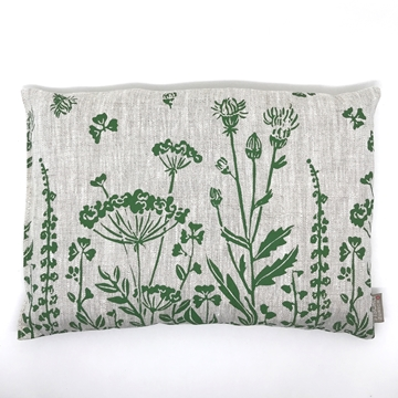 Bild von Aktuell - Arvenkissen Leinen Gross, gefüllt mit Arvenflocken aus Bergün, Blumenwiese Grün