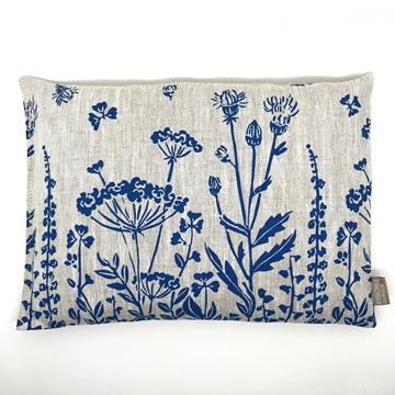 Bild von Aktuell - Arvenkissen Leinen Gross, gefüllt mit Arvenflocken aus Bergün, Blumenwiese Blau